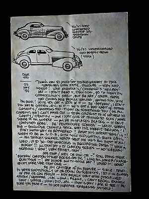 ALEX TOTH Hand Written SIGNED Personal Letter to Darrel McNeil w/Sketch 1994
