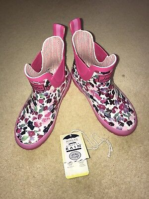 Joules Girl's Infant Wellibobs Pink Flower Uk 12 New