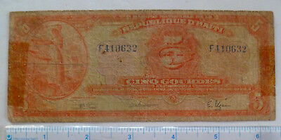 5 Gourdes Bill - Very Old From Haiti