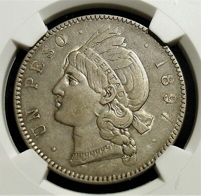 Dominican Republic: Republic Peso 1897-A AU Details (Surface Hairlines) NGC.
