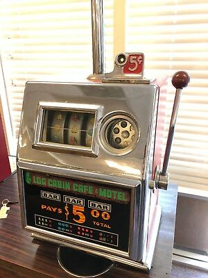 ORIGINAL 1960's MILLS 5 cent SLOT MACHINE from LOG CABIN CAFE & MOTEL NEVADA