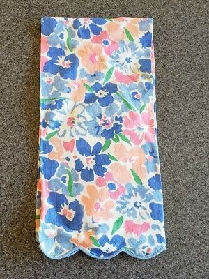Vintage French D Porthault Flax Linen Hand Towel Floral