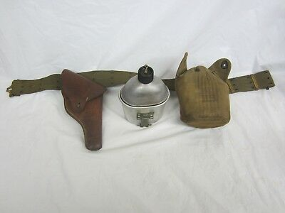 Rare World War 2 U. S. Army Web Belt, Victory Holster and Canteen Nice