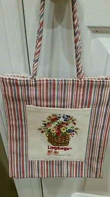 Longaberger Small Tote, Homestead, New with Tag, Multi-Colored Stripe, Floral