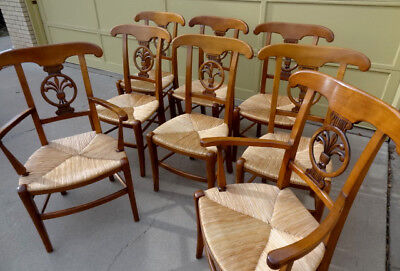 RARE Set: 8 Antique French County Farmhouse Dining Chairs, Wood w/Rush Seats