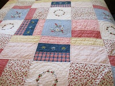 Vintage handmade quilt Denim and Red & white 86 X 84 Heavy will keep you warm