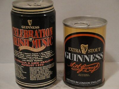 1-1990 Guinness Export Stout & 1-Extra Stout IRELAND empty Craft Beer Cans