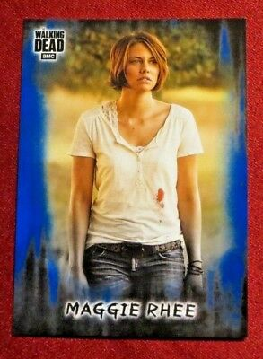 2018 Topps Walking Dead Hunters and the Hunted Maggie Rhee Blue Parallel #d/50