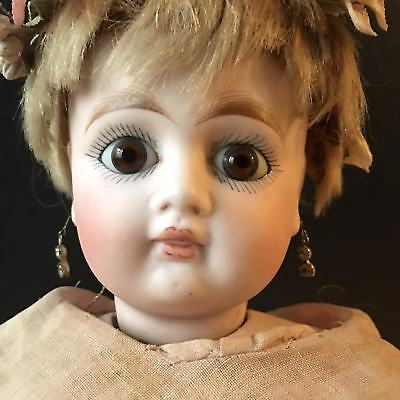 "RARE Antique AT Bru type closed mouth swivel head Bebe doll 16"" ca 1875"