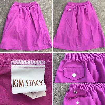 Vintage Kim Stacy Skirt Made In USA 70s 80s Girls 7 Elastic Waist