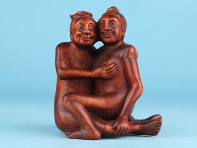 Precious Chinese Boxwood Statue Hand-Carved Private Collections Gifts Men Women