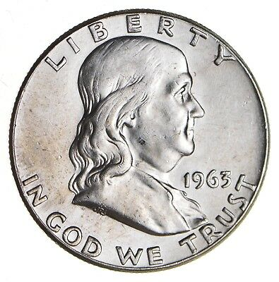 Choice Unc BU MS 1963 Franklin Half Dollar - 90% Silver - Tough Coin! *509