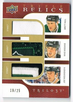 2018-19 Upper Deck Trilogy Triple Relics PATCH Brett Hull Modano Nieuwendyk /25