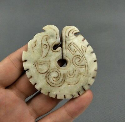 Chinese Collection Old Jade Hand carved Dragon statue pendant C10