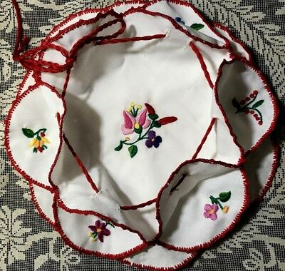 Lovely Hungarian Doily Cover Hot Rols Hand Made Embroidery &Crochet Trim11 3/4""
