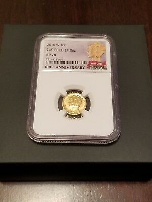 2016 W Gold Mercury Dime NGC SP70 ER 100th Anniversary US Min 10c Coin