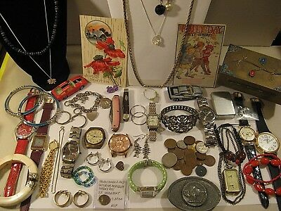 Vintage Junk Drawer Lot/collectibles/jewelry/watches/old Coins/and Much More.