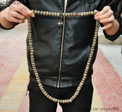 Old Tibet Buddhism Natural Agate Onyx carved Buddha beads Statue Amulet Necklace