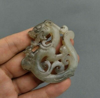Chinese Collection Old Jade Hand carved Dragon statue pendant C8