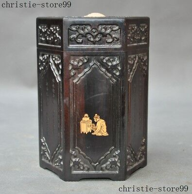 Old Chinese Rosewood wood hand Carved Text Ancient character statue Storage box