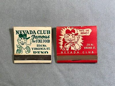 "Famous ""nevada Club"" Advertising Matchbooks From Reno, Full 30 Strike"