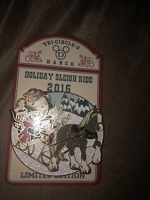 Disney Pin Beauty And The Beast Sleigh Ride 2016 Holiday Ft Wilderness Le 1400