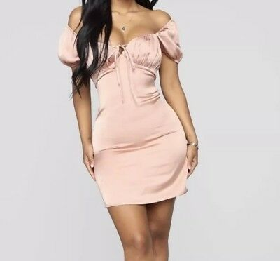 e7e157bb55 Fashion Nova Cut And Sweet Satin Mini Dress Size Small Champagne Party  Wedding