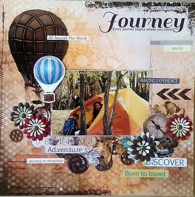 12 x 12 Handmade Scrapbook Page - Journey...