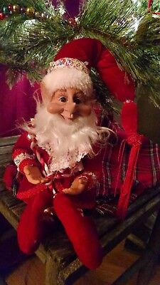 """New Elf Jester Pixie 14"""" Bendable Poseable Red Christmas Decor Ornament"""