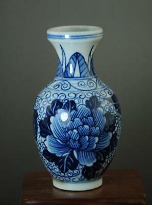 china old hand-made blue white porcelain hand painted peony&leaf vase b01