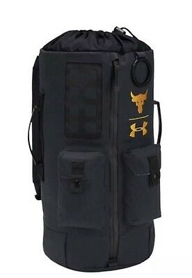 3147d831a5 UA X Under Armour Project The Rock DJ 60 Black Military Duffel Bag Backpack  NWT