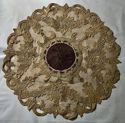"""Gorgeous Antique Taupe Doily Centerpiece Needle Lace  on Net  22"""" Diameter AS IS"""