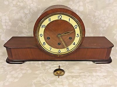 Vintage German Wood Case Mantel Clock by Forestville Westminster Chimes Runs