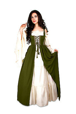 Renaissance Medieval Irish Costume OLIVE Over Dress ONLY Fitted Bodice 2/3xl