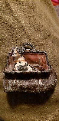 Antique Cast Iron Dog In Bag Paperweight Figure Ok Vintage