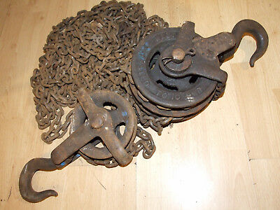 Vintage Westons Patent Block And Tackle Chain Hoist Block