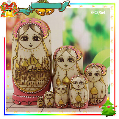 Collection 7Layers/Set Wooden Russian Dolls Nesting Maiden Wishing Doll Matryos