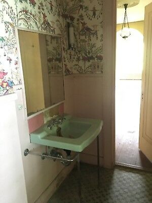 Vintage 1930s green console sink with steel legs- price cut!