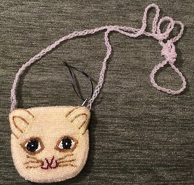 Small Beaded Bead Gold Cat Feline Animal Change Purse Bag With Shoulder Strap