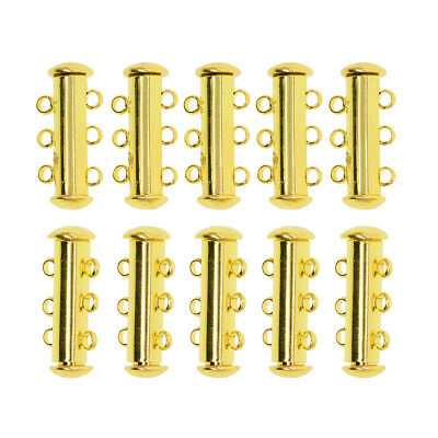 10x 3 Row Magnetic Clasps Hooks Tube Clasp For Bracelet Necklace Jewelry Making