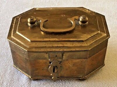 "Vintage Large Shiny Solid Brass Trinket Box with Handle and Latch - 8"" x 6"" x 4"""