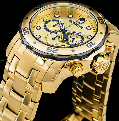 Invicta Men's 48mm Pro Diver Scuba Chronograph 18K Gold Plated SS 200MT Watch !