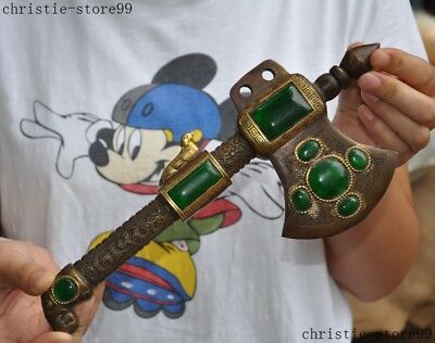 Chinese ancient Fengshui Bronze inlay Green Gem Exorcism hatchet tomahawk Ax Axe