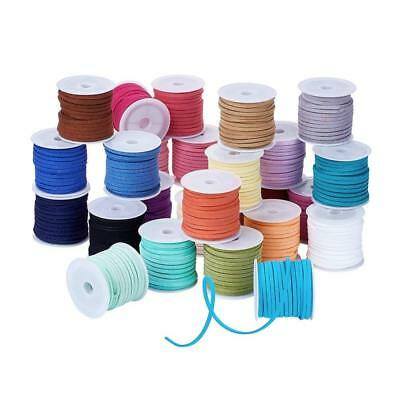 Faux Suede Cord Lace Mixed Color 3x1.5mm about 5m/roll, 25rolls/bag 125m length