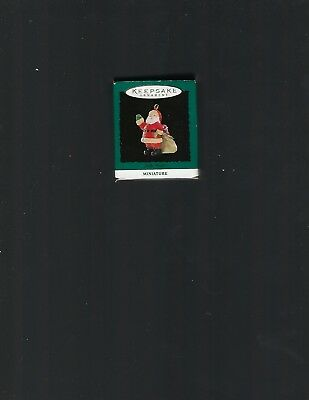 "1994 Hallmark ""Jolly Visitor""  Santa Miniature Christmas Ornament NIB"