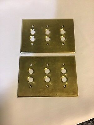 2 Vintage Brass Round Hole Switch Plate Covers The Perkins Electric S.W. Mfg. Co