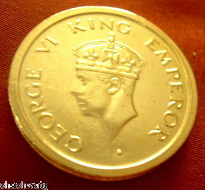 Rare Indian King George Vi Rupee One Coin 24 Kt Gold Plated Collectible