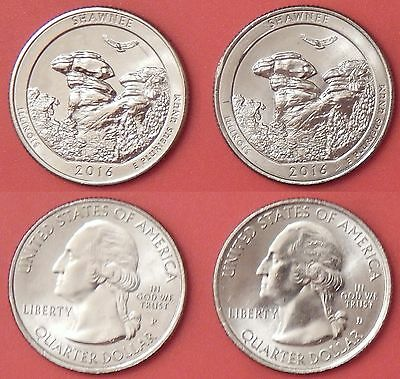 Brilliant Uncirculated 2016 P & D US Shawnee 25 Cents From Mint's Rolls