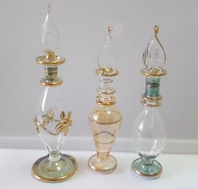 3 x  Egyptian Hand Made perfume bottles   green with  gold trim