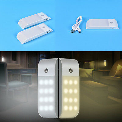 USB Rechargeable 12 LED PIR Sensor Induction Night Light Cabinet Lamp Goodish